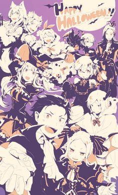 animal_ears beatrice_(re_zero) emilia_(re_zero) frederica_(re_zero) garfiel_(re_zero) natsuki_subaru pack_(re_zero) petra_(re_zero) ram_(re_zero) re_zero_kara_hajimeru_isekai_seikatsu rem_(re_zero) roswell_l. Anime Halloween, Halloween Make, Halloween Snacks, Halloween Heels, Beatrice Re Zero, Style Anime, Manga Anime, Anime Art, Re Zero Rem