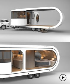 the futuristic romotow's expandable deck makes it the perfect party trailer - t.,the futuristic romotow's expandable deck makes it the perfect party trailer - the futuristic romotow's expandable deck makes it the perfect party trai. Kombi Trailer, Kombi Motorhome, Camper Caravan, Rv Campers, Camper Trailers, Campervan, Trailer Deck, Camper Life, Travel Trailers