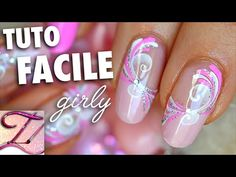 Easy and girly nail art tutorial, spring sugar spirals .- Easy and girly nail art tutorial, spring sugar spirals Easy and girly nail art tutorial, spring sugar spirals, Acrylic Nail Art, Glitter Nail Art, Toe Nail Art, Nail Nail, Korean Nail Art, Korean Nails, Nail Art Disney, Nail Art Designs, Nail Art Vernis