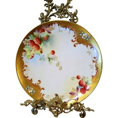 Spectacular Pickard Studio Limoges Hand Painted Raspberry Charger Plate, Pickard Artist Signed, 'J. Nessy'