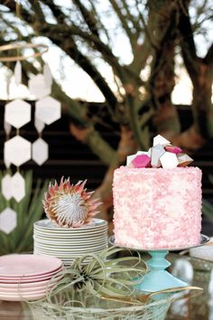 gorgeous cake with gem topper from Sweet & Saucy   Martha Stewart Weddings Real Wedding Preview   Palm Springs Wedding   Belathée Photography, Sitting In A Tree Events, 10.11 Makeup, Yeah Rentals, Cheree Berry Paper, Bloem Hill Florals