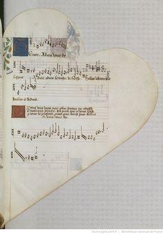 Titre :  Chansonnier cordiforme de Montchenu. RECUEIL de Chansons italiennes et françaises.  Date d'édition :  1470-1480  Rothschild 2973  Folio 53r