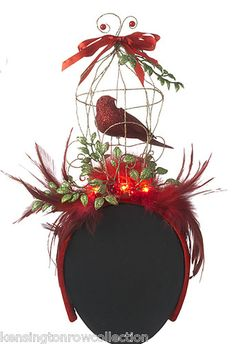 Christmas Headband Lighted Holiday Fascinator Bird Cage Headband