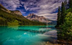 Download wallpapers Emerald Lake, Mountain Lake, Rocky Mountains, Canada, British Columbia, Yoho National Park