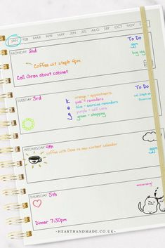 Sample colour code - Colour coded planner page - How To Color Code Your Planner Like A Total Pro!