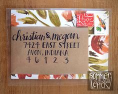 Fall floral wedding invitations with clear envelopes | Sommer Letter Co. | Unique wedding invitations | Handmade wedding invitations | Custom stationery
