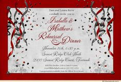 rehearsal dinner invitations | Festive Rehearsal Dinner Party Invitation - Streamers & Confetti ... $39.99 for 25