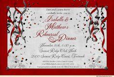 rehearsal dinner invitations | Festive Rehearsal Dinner Party Invitation - Streamers & Confetti ... $39.99 for 25