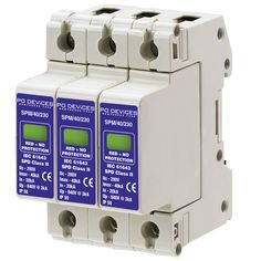 A3SPM/40/230 - 40kA Three Phase [L-N, L-E] (w/o Remote Connector) - Type 2 Test Class II - This modular #surgeprotection #device provides #protection of equipment connected to incoming low voltage AC power supplies against the damaging effects of transient over voltages caused by local #lightning strikes, or the switching of electrical inductive or capacitive loads.