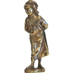 Art Nouveau Vienna Bronze figure of a little girl, ca. 1910 from chateau on Ruby Lane Art Nouveau, Art Deco, Victorian Life, Girl Standing, Bronze Sculpture, Ruby Lane, Vienna, Antique Silver, Little Girls