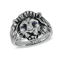 Men's Lion Ring with Lab-Created Sapphire in Sterling Silver