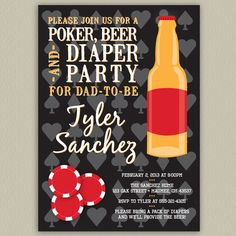 POKER PAMPER PARTY | Poker, Beer and Diaper Party for Dad - Printable Invitation with Color ...