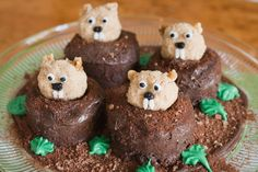 My Groundhog Day creation!  Chocolate icing sprinkled with a mixture of brown sugar and cocoa powder.  The groundhogs are rolled balls of rice crispy treats that were rolled in brown sugar.  Ears are made from walnut pieces and the face details are icing!