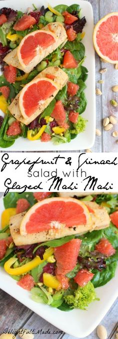 Tossed with delicious Florida Red Grapefruit along with spinach, yellow bell peppers and pistachios, and topped with a grapefruit glazed, pan seared Mahi Mahi, this salad is fresh, healthy and fabulous! #FLGrapefruit #CleverGirls