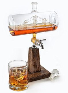 Whiskey / Bourbon Decanter - Liquor Dispenser for Vodka, Rum, Wine, Tequila or Mouthwash - Glass Decanter with Stainless Steel Spigot: Liquor Decanters