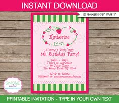 Printable Strawberry Shortcake Invitation Template from SIMONEmadeit.com