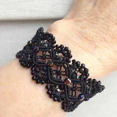 #madeinkansasbyrosi #macrame #lacy #bling #bracelets #tinyknots #tiedinknots #lotsofknots #boho #bohochic #bohemian #bohostyle #bohofashion #backinblack