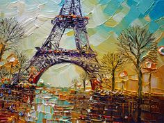 ORIGINAL Abstract Contemporary Eiffel Tower Oil Painting Heavy Palette Knife Texture by Paula Ready to Hang Tour Eiffel, Palette, Landscape, The Originals, City, Paintings, Crafts, Paisajes, Modern Paintings