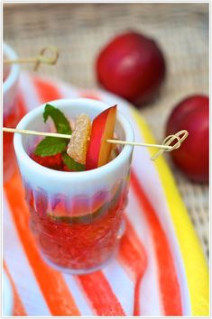 Ginger-plum sangrias made with rose wine. Perfect for a cinco de mayo cocktail... bottoms up!