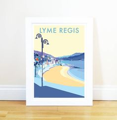Lyme Regis vintage style travel poster and seaside print forms part of the British Coastlines travel art collection. Created by Devon Artist Becky Bettesworth. Posters Uk, Room Posters, Poster Prints, Lyme Regis, Vintage Travel Posters, Poster Vintage, Sign Printing, Me Time, Seaside