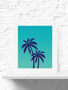 Palm Tree Print - Palm Tree Art - Navy and Teal Tropical Art Print - Printable Art for the Home Office, Nursery or Living Room