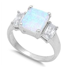 Love the stone Opal Rings, Silver Rings, Bling Bling, Cubic Zirconia Engagement Rings, 925 Silver Bracelet, Engagement Ring Sizes, Brilliant Diamond, Size 10 Rings, White Opal