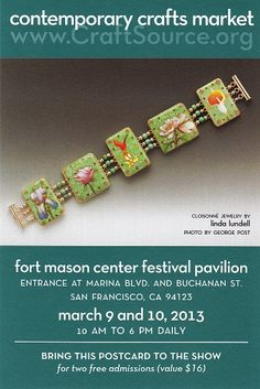 Free passes? Yes, for our Pinterest friends. Just print and bring to the ticket taker at the Festival Pavilion, Fort Mason in San Francisco, March 9 & 10. $16 value. More information at www.CraftSource.org