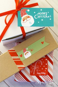 Are you wrapping presents now? Need a cute gift tag? Free printable gift tags. www.skiptomylou.org #gifttags #freeprintable #skiptomylou