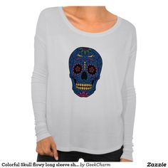 Colorful Skull flowy long sleeve shirt so cool for halloween/day of the dead