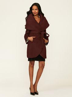Elie Tahari | Belted Shawl Wrap Coat