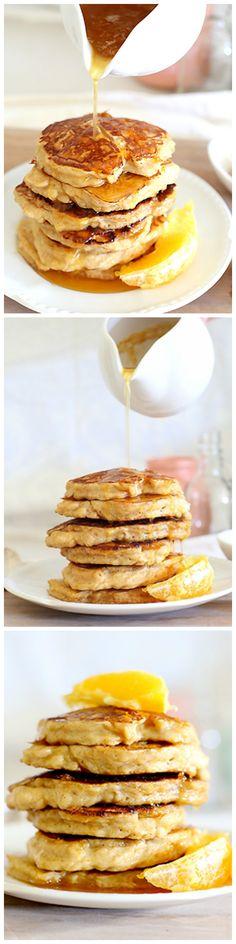 Orange ricotta hotcakes with orange honey syrup - Fluffy, soft ricotta pancakes flavoured with orange and served with a decadent honey, orange syrup