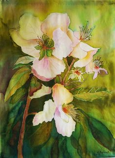 "Painting on silk ""Apple blossom"" Wall hanging Batik  Panel Panno Wall ART Picture on silk Textile ART"