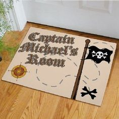 """Personalized Pirate Doormat . $24.98. Personalized Pirate Doormat - Custom Printed Boys Room DoormatArgh Ye Matey it's time to sail the seven seas with your favorite pirate captain. Decorate your little pirate's room with a Personalized Pirate Doormat. A great gift for any pirate ready to take on the ocean blue in search of treasure and high adventure. Please choose between two great sizes 18"""" x 24"""" or 24"""" x 36"""". Both are safe for outdoor or indoor door mat use. Your Custom P..."""