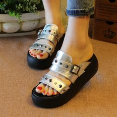 silver neon wedged sandals slides house toe loop adults 2 inch heel cute massage two strap 3689