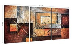 Amazon.com: Phoenix Decor-Abstract Canvas Wall Art Paintings on Canvas for Wall Decoration Modern Painting Wall Decor Stretched and Framed Ready to Hang 3 Piece Canvas Art: Oil Paintings