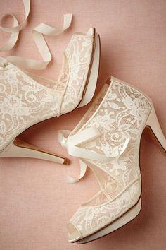 Elegant Creamy Lace Heels