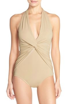 MICHAEL Michael Kors Front Twist One-Piece Halter Swimsuit available at #Nordstrom