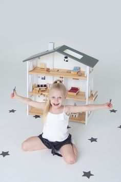 Wooden Dollhouse, Wooden Dolls, Doll House Plans, Scandinavian Style, Toddler Bed, Etsy Seller, How To Plan, Handmade Gifts, Furniture