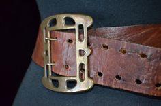 70s Wide  Leather Belt with Brass Buckle.  Hippie by FlanneryCrane, $15.00