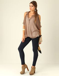 Chiffon Cut-out Shoulder Shirt from Supre $25.00