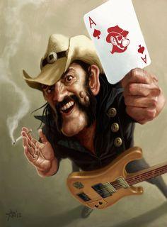 Lemmy Kilmister by arielmedel Hard Rock, Rock N Roll, Funny Caricatures, Celebrity Caricatures, Rock Posters, Band Posters, Heavy Metal Art, Arte Cyberpunk, Picture Logo