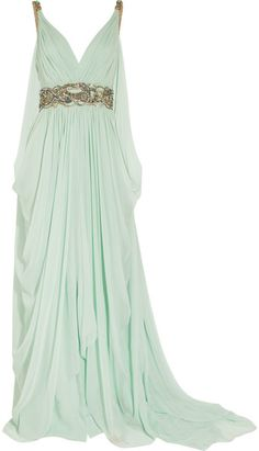 Grecian-inspired dress $4,197 MARCHESA  Crystal-embellished Silk-chiffon Gown  Aqua silk-chiffonClear crystal and green bead embellishment with gold threadwork, draped sides and back, short train, fully linedConcealed