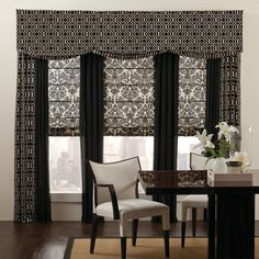 Flat Roman Shades with Grommet Top Floor size Solids and Printed Drapery Panels  with a Flat Scalloped Valance