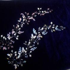 """74 Likes, 4 Comments - Свадебные украшения (@flowercrownkras) on Instagram: """"Закончила их и любуюсь:) Две нежные веточки с матовыми бусинами. В каждой до 11 видов бусин,…"""""""