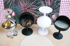 Miniature BBQ grill for dollhouse using mini champagne glasses (Dollar Store Wedding favours)  | Source: A Small Heart's Desire