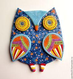 """Купить Интерьерное панно из керамики """"Ночная Сова"""" - сова, сова игрушка купить, сова в подарок"""