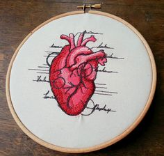 Items similar to Anatomical heart embroidered hoop art gift on Etsy Embroidery Designs, Embroidery Hoop Crafts, Embroidery Hearts, Crewel Embroidery Kits, Simple Embroidery, Embroidery Transfers, Hand Embroidery Patterns, Vintage Embroidery, Cross Stitch Embroidery