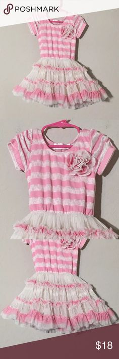Poptau Pink White Striped Tutu Skirt Flower Dress Girls Poptau pink white striped tutu dress with 3D flower Sz Small Excellent condition no flaws Popatu Dresses