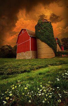Red barn with silo, stormy sky, Palmyra, Wisconsin Wisconsin, Michigan, Farm Barn, Old Farm, Iowa, Illinois, Minnesota, Beautiful Homes, Beautiful Places