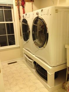 Washer and dryer pedistal | Do It Yourself Home Projects from Ana White-- built this this past weekend with a few mods for our space. About $100 in materials.